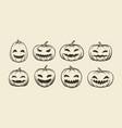 halloween symbol set funny pumpkins sketch vector image