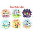 happy fathers day celebration set of vector image vector image