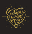 Happy valentines day with glitter gold lettering vector image
