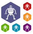 humanoid robot icons set hexagon vector image vector image
