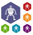 humanoid robot icons set hexagon vector image vector image