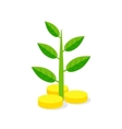 Investments Icon Plant growing on coins - vector image vector image