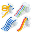 isometric colorful water slides and tubes vector image vector image