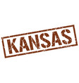 Kansas brown square stamp vector image