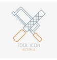 Line working color file with hacksaw for vector image vector image