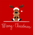 merry christmas greeting card with reindeer vector image