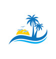 Palm wave sunset travel logo
