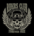 riders club vintage biker emblem with winged vector image vector image