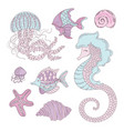 sea animals underwater summer cruise vector image