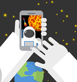 Selfie in space Astronaut photographed myself on vector image