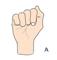 Sign language and the alphabetThe Letter A vector image vector image