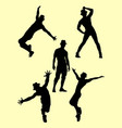 silhouette of male dancer 05 vector image vector image