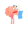smoking humanized cartoon brain character examine vector image