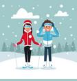 sport ski couple vector image