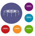 trampoline icons set vector image vector image