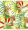 tropical flowers leaves giraffe seamless pattern vector image vector image