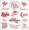 Valentines Day Red Typography Design Elements vector image vector image