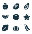 vegetable icons set with cantaloupe ketchup vector image vector image