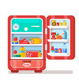 vintage red opened refrigerator full food vector image