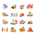 vitamins in products icons set vector image