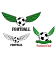 Winged football or soccer ball emblem vector image vector image