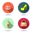 Flat icons with womens accessories vector image