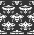 mustache skull in sombrero seamless pattern vector image
