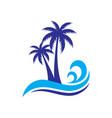 palm wave travel logo vector image
