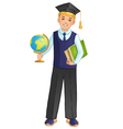 Schoolboy with globe and books eps10 vector image