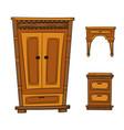 antique furniture set - closet dresser vector image