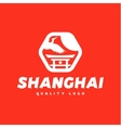 Asian sign Shanghai crane flies sky culture vector image