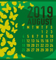 august 2019 calendar template with abstract vector image