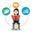 avatar man and business icons vector image