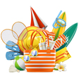 Beach Accessories with Bag vector image vector image