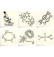 Biology and chemistry icons on yellow memo sticks vector image vector image