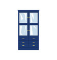 blue closet with glass doors and drawers vector image vector image
