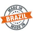 Brazil orange grunge ribbon stamp on white vector image vector image