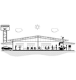 Canteen building structure section for canteen vector image vector image