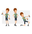 cartoon flat hipster boy character set vector image