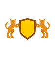 cat and shield heraldic symbol pet for coat of vector image vector image