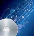 Cd dvd disk on blue digital background vector image