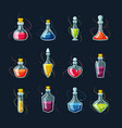 chemical potion magic vials set red elixir vector image vector image