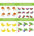 Children s educational game Find two same vector image vector image
