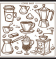 coffee shop maker equipment tools sketch vector image