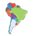 comic drawing of a political map of south america vector image vector image
