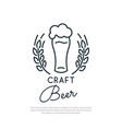 craft beer icon glass of beer with foam vector image