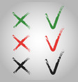 cross and tick executed brushes flat v x vector image