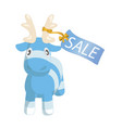 cute blue cartoon reindeer toy with sale label vector image vector image