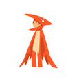 cute boy in pterodactyl dinosaur costume kid vector image vector image