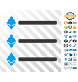 ethereum list cards with bonus vector image vector image
